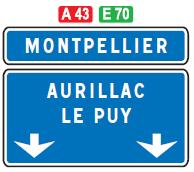 Panneau directionnel autoroute bleu - Groupe Self Signal